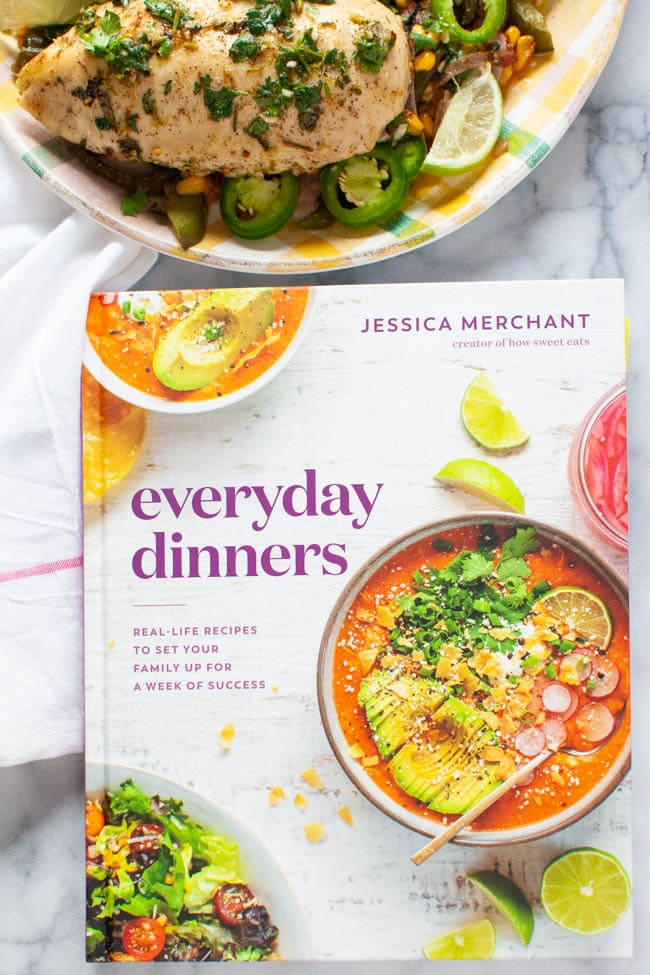 Everyday Dinners Cookbook with a plate of cilantro lime chicken