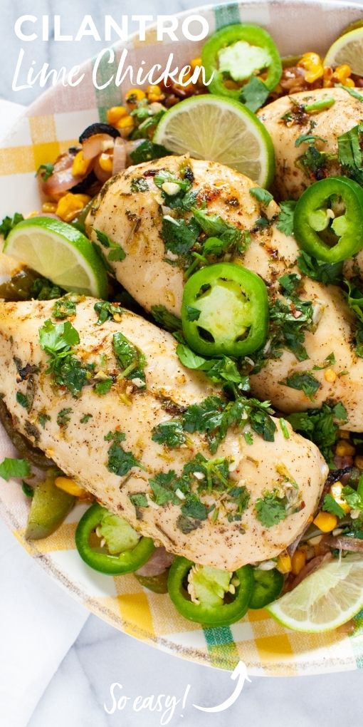 cilantro lime chicken on a plate